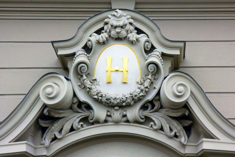 在徽章,布拉格的组合图案 库存照片