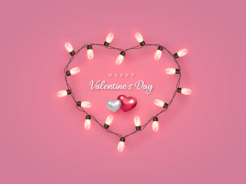 在心形的框架的电电灯泡与心脏 库存例证