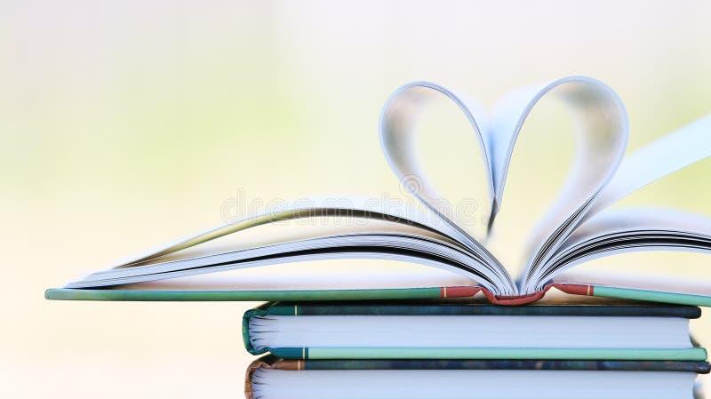 在心脏形状的书页 免版税图库摄影