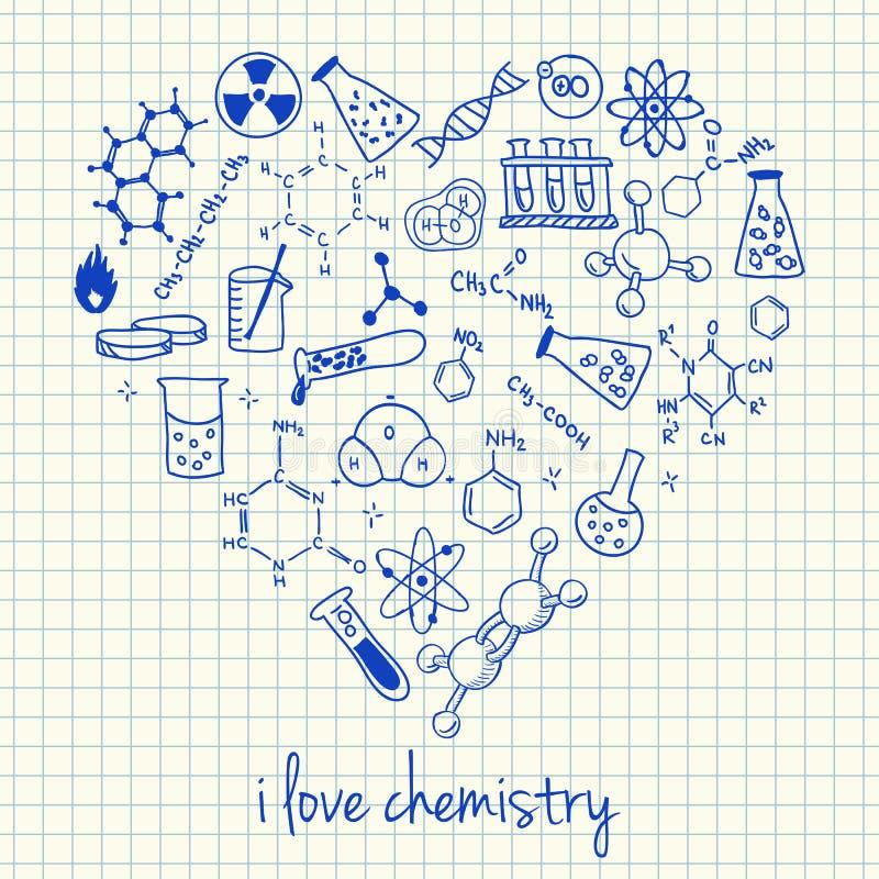 在心脏形状的化学图画 库存例证