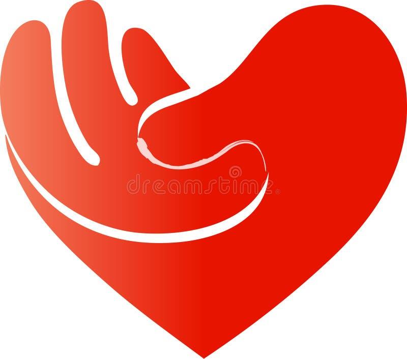 在心脏形状的手 皇族释放例证