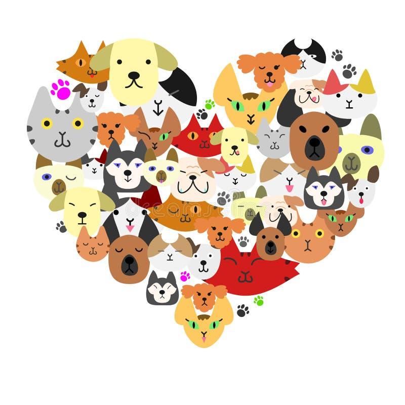 在心脏形状的狗和猫面孔 库存例证