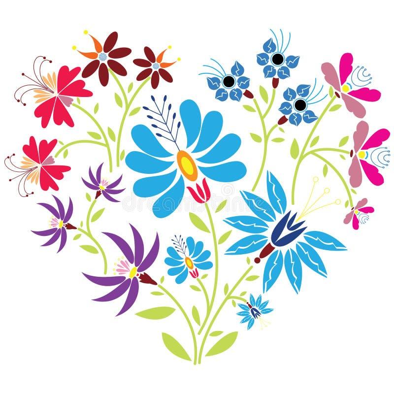 在心脏形状的种族民间花卉样式在白色背景 库存例证