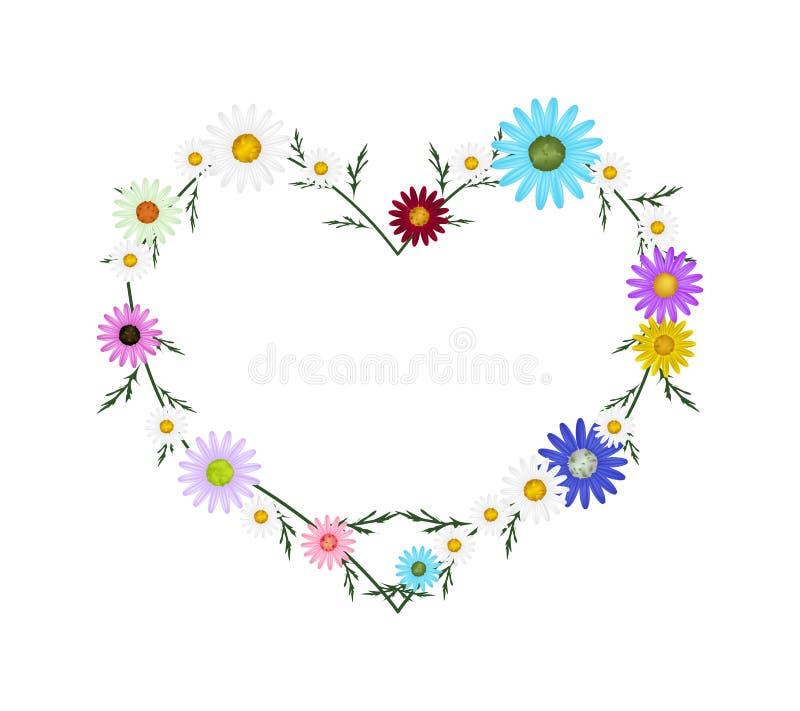在心脏形状的被分类的颜色雏菊花 向量例证