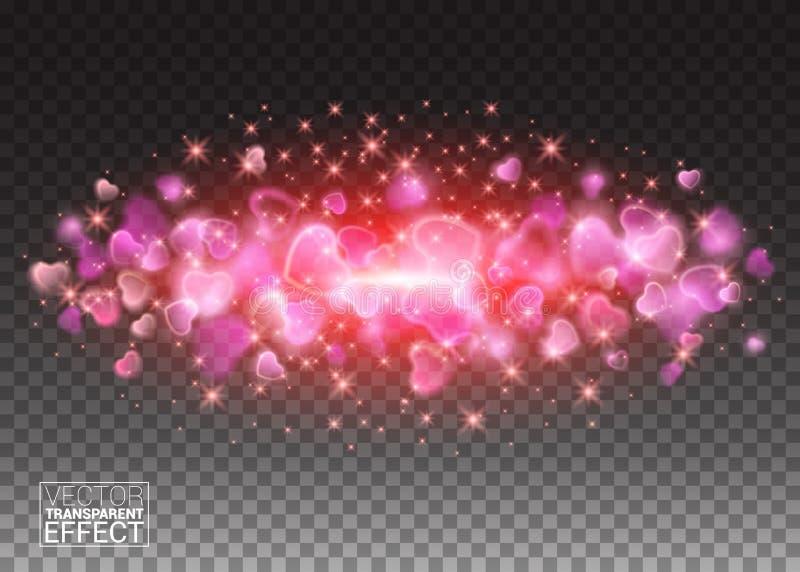 在心脏形状的闪烁微粒 在爆炸的星团闪烁的火花在透明背景 闪耀的金刚石 库存例证