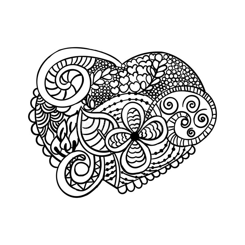 在心脏形状的Zendoodle成人,华伦泰` s卡片、T恤杉图表,纹身花刺和其他的彩图的 向量例证