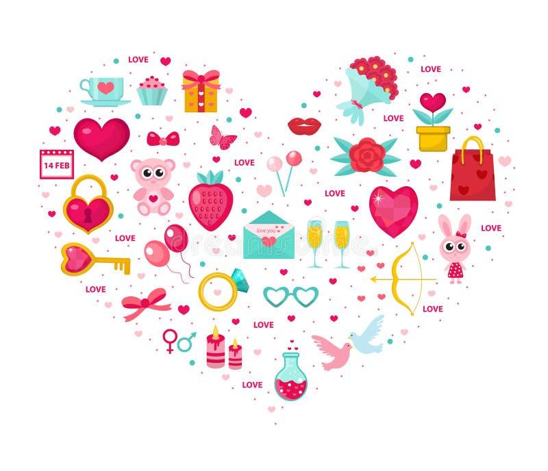 在心脏形状设置的情人节象 贺卡的,海报,飞行物模板 爱,言情收藏 向量 皇族释放例证