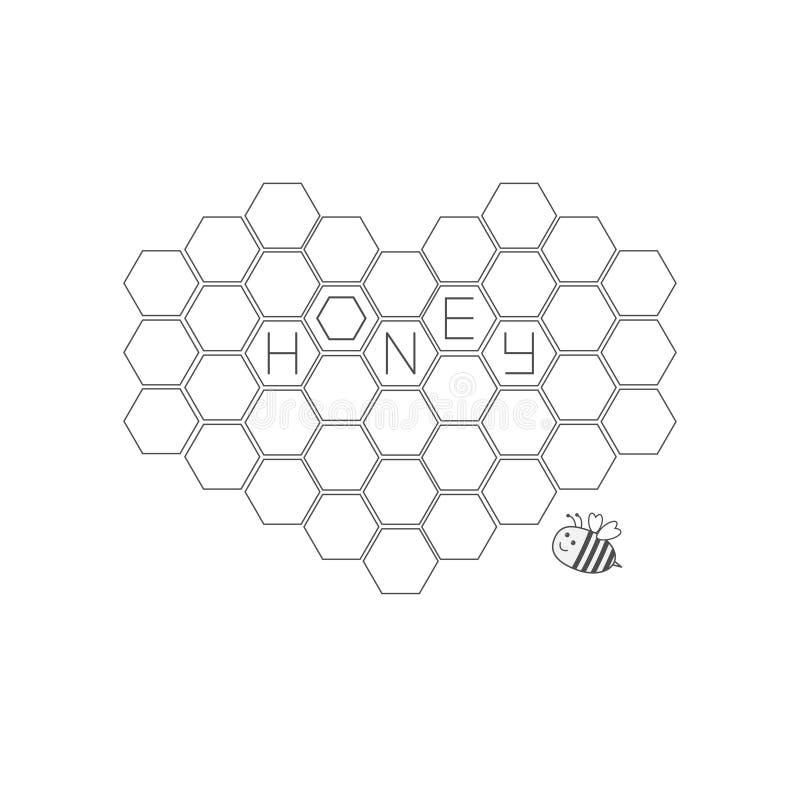 在心脏形状设置的蜂窝  蜂昆虫动物 蜂箱元素 蜂蜜文本象 奶油被装载的饼干 平的设计 皇族释放例证
