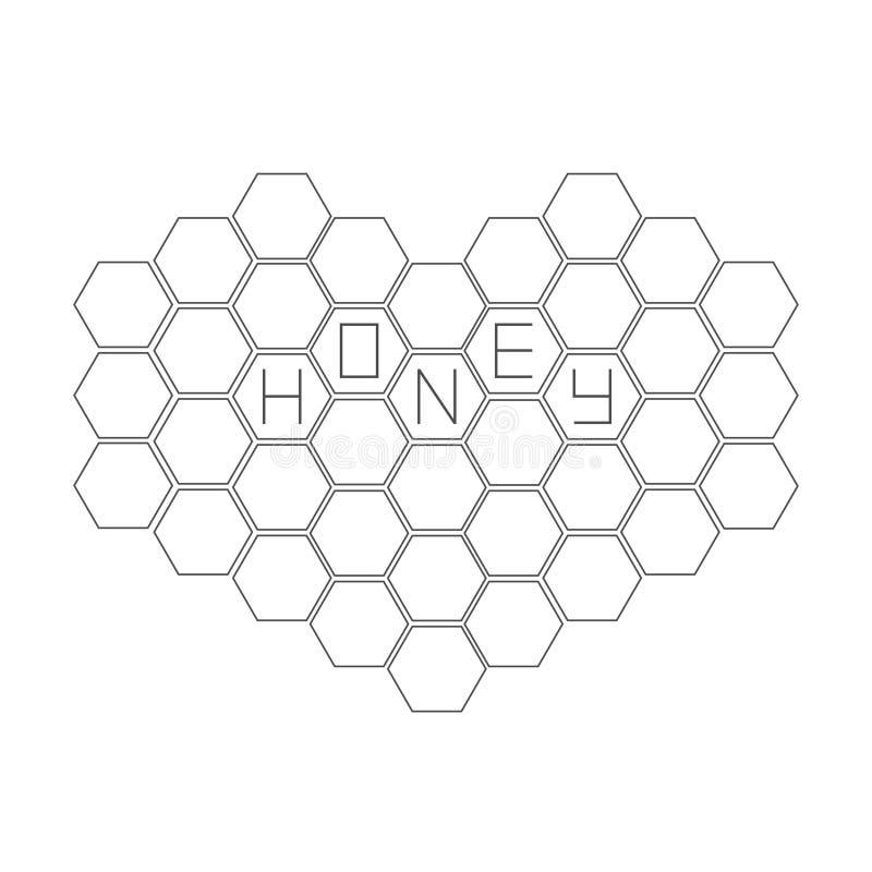在心脏形状设置的蜂窝  蜂箱元素 蜂蜜文本象 查出 奶油被装载的饼干 平的设计 向量例证