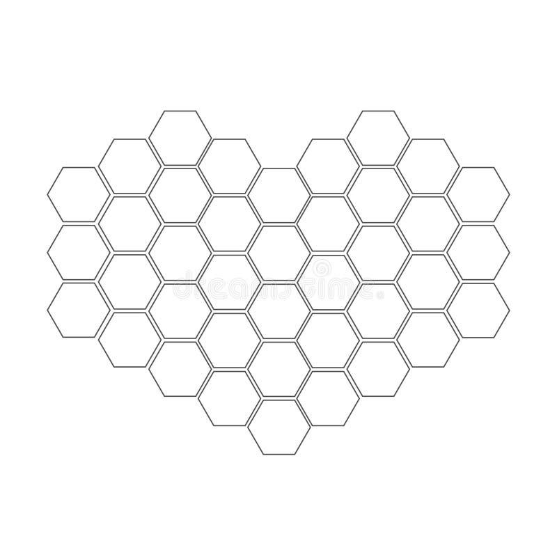 在心脏形状设置的蜂窝  蜂箱元素 蜂蜜象 查出 奶油被装载的饼干 平的设计 库存例证