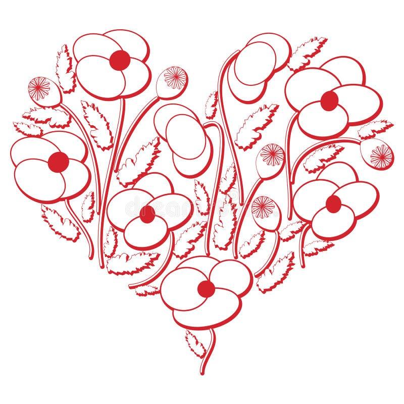 在心脏形状3d版本的庆祝民间花卉刺绣保险开关样式在白色和红色与屏蔽效应由东部启发了 库存例证