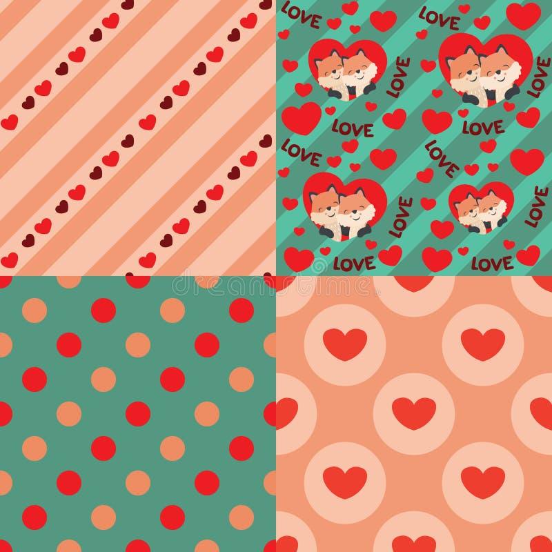 在心脏情人节无缝的样式设计元素集传染媒介例证的逗人喜爱的Kawaii样式Fox 向量例证