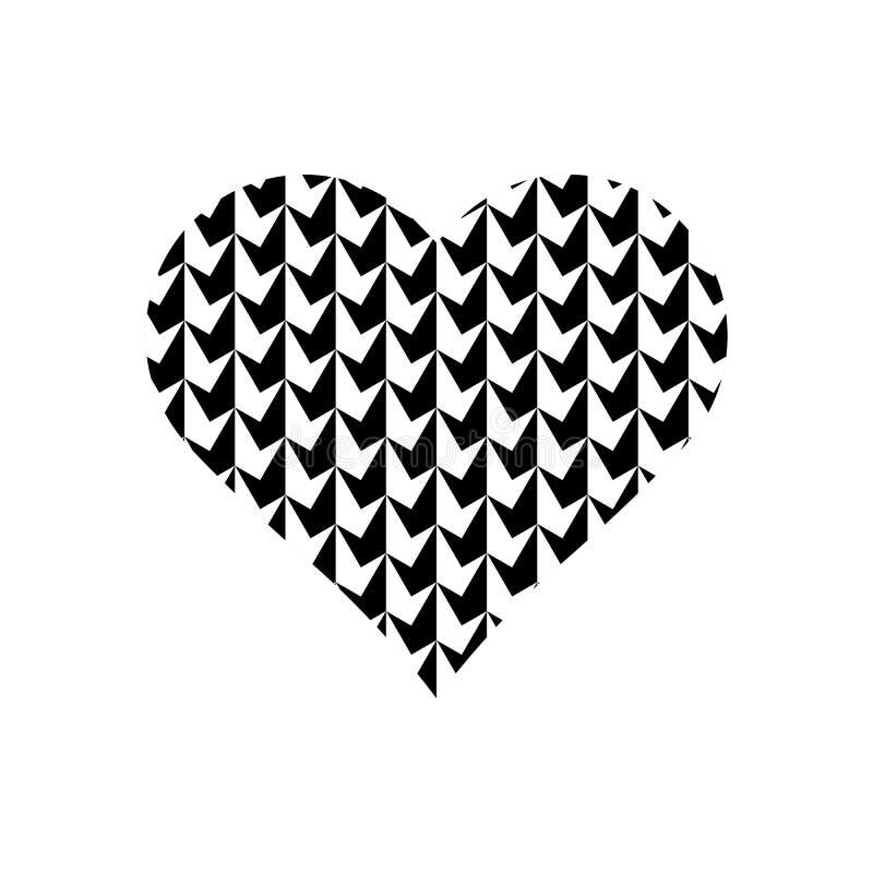 在心脏标志的黑白立方体样式 库存例证