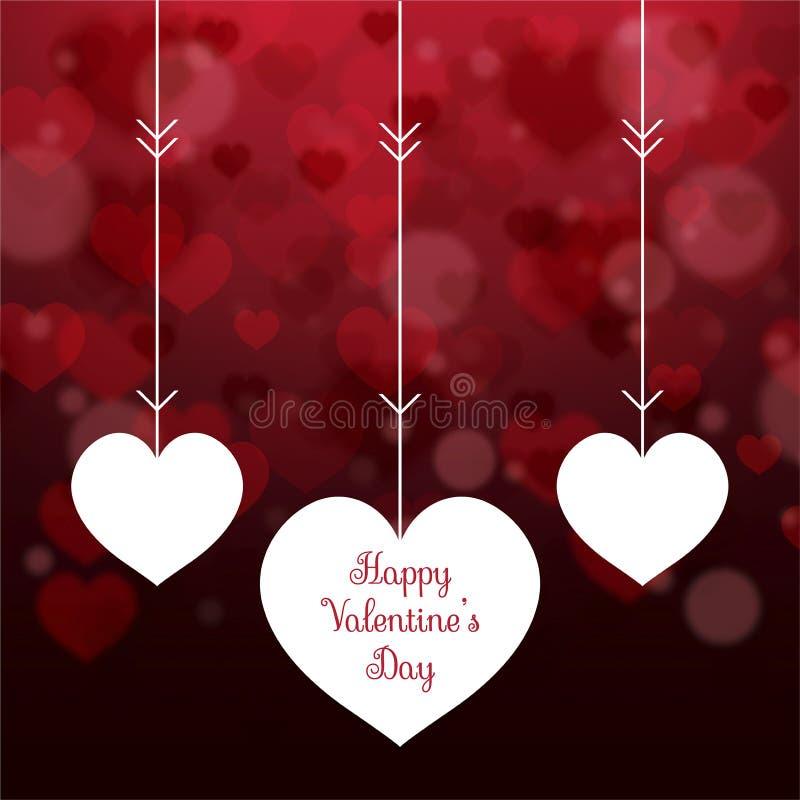 在心脏的抽象心脏为情人节弄脏了背景 库存例证