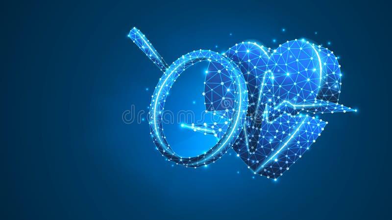 在心脏的放大镜与脉冲线 健康分析,心脏安全,健康保健研究概念 ?? 库存例证