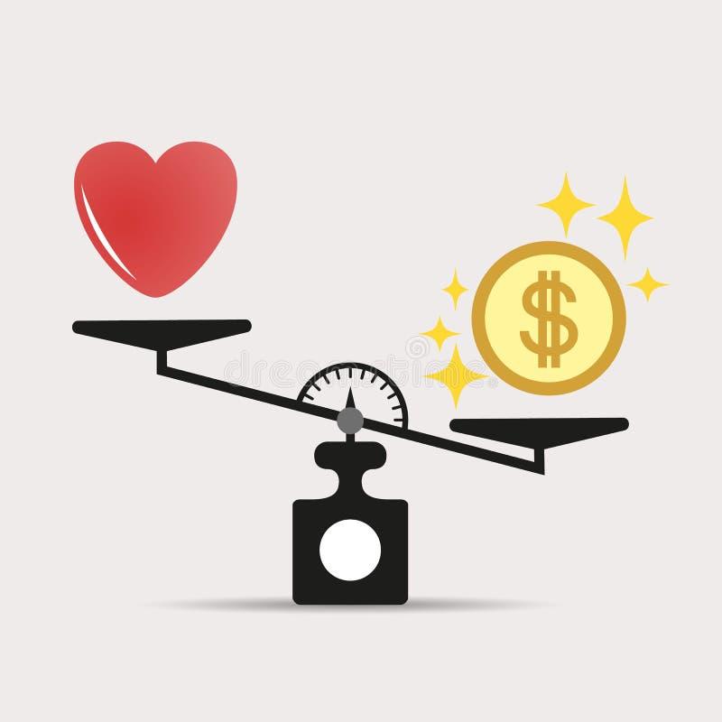 在心脏的金钱重量 在爱和金钱之间的标度 贪婪,金钱的概念比爱重要 向量 皇族释放例证