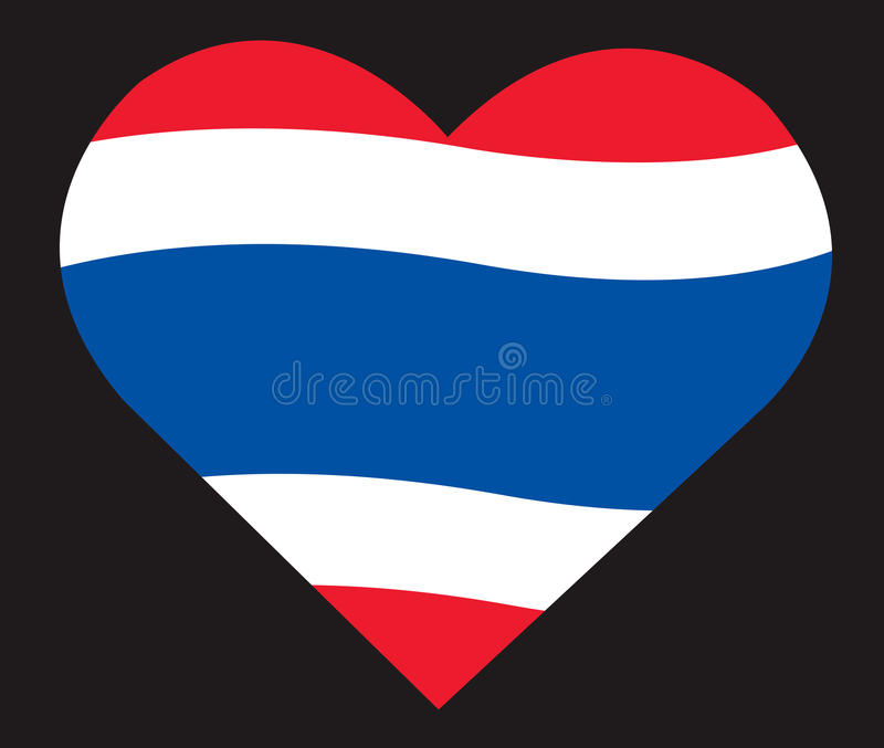 在心脏象,泰国旗子传染媒介的泰国旗子 库存例证