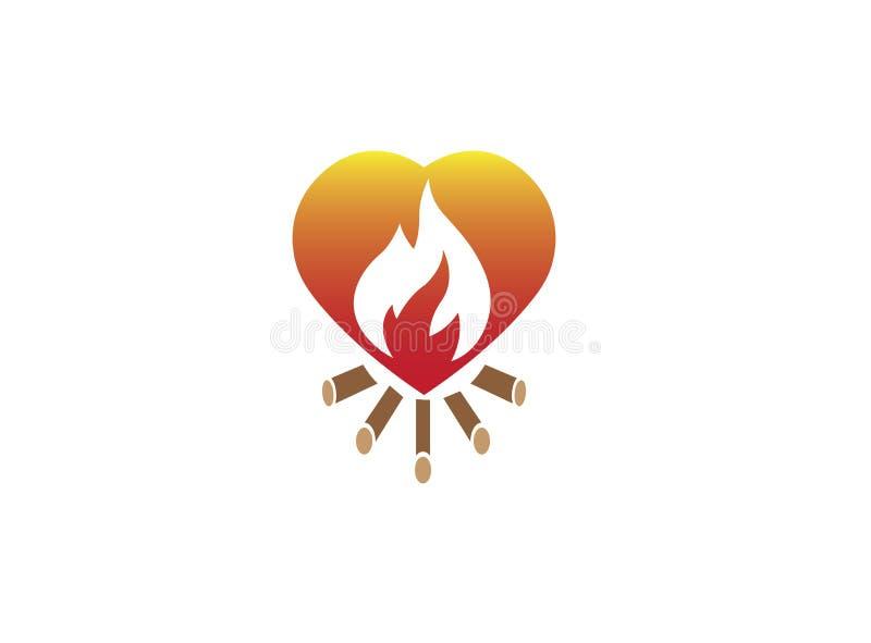 在心脏里面的火燃烧的木营火商标设计的 向量例证