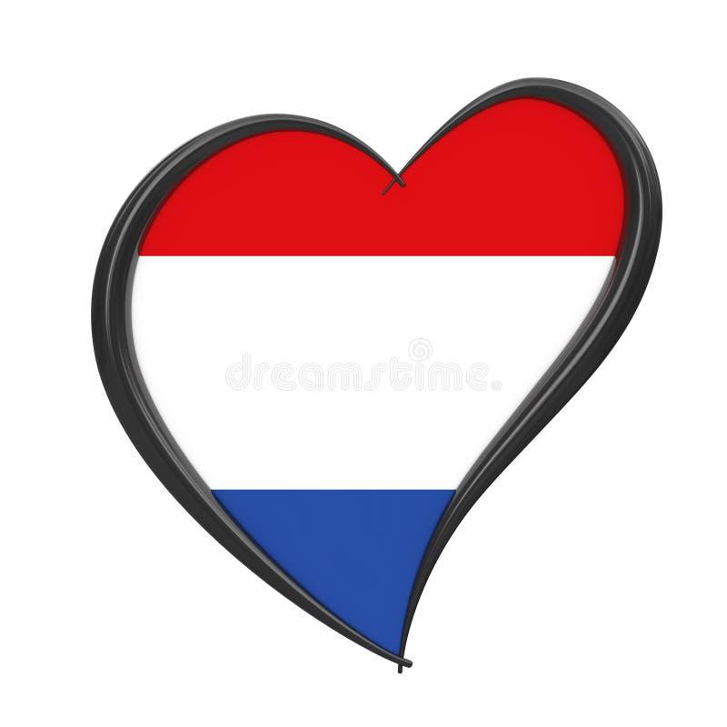 在心脏里面的荷兰旗子 欧洲歌唱大赛2020年在荷兰 3d?? 免版税库存照片
