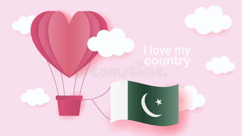 在心脏飞行形状的热空气气球在云彩的与巴基斯坦的国旗 纸艺术和裁减,充满爱的origami样式 向量例证