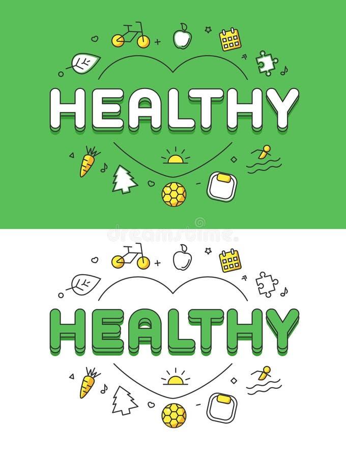 在心脏医疗保健集成电路的线性平的健康词 皇族释放例证