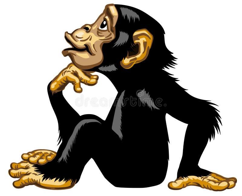 在思想家外形的动画片黑猩猩 库存例证
