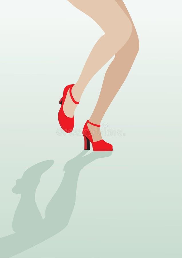 在性感红色鞋子跳舞的女性行程 库存例证