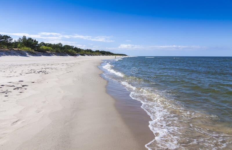 在恶劣环境测井半岛,波罗的海,波兰的沙滩 免版税库存图片