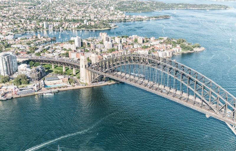 在悉尼港口的日落,直升机视图 库存图片