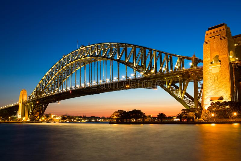 在悉尼港桥的日落,澳大利亚 库存图片