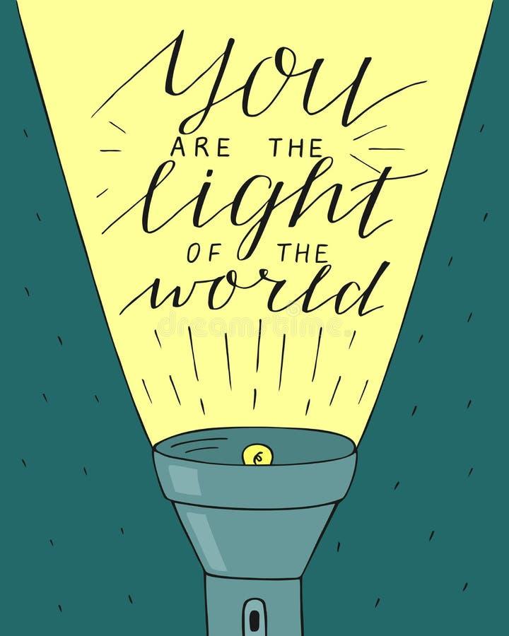 在您上写字的手世界的光,做用焕发灯笼 库存例证
