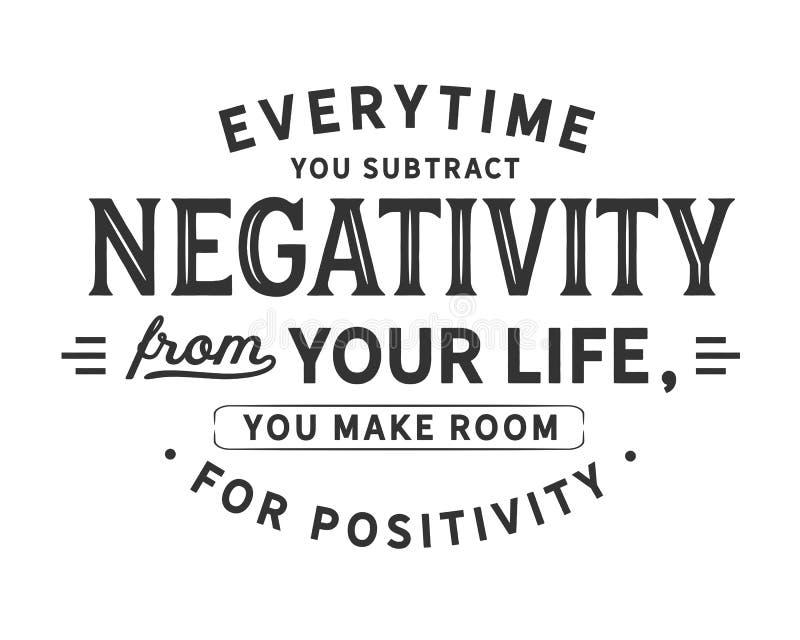 在您从您的生活时候减去否定性,您让路给阳 库存例证