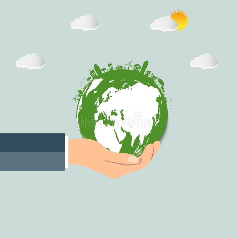 在您的手生态概念的世界 绿色城市帮助wo 向量例证