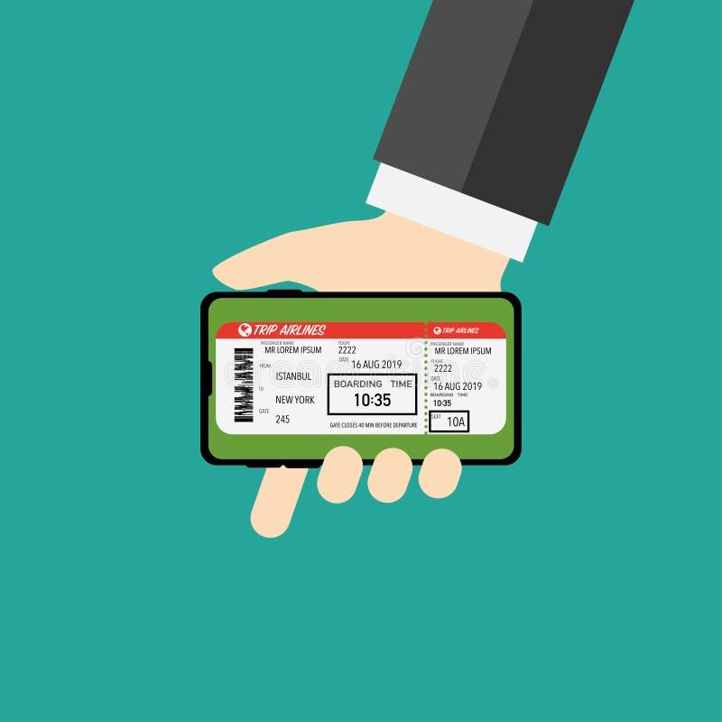 在您的电话空的背景的飞机票 库存例证