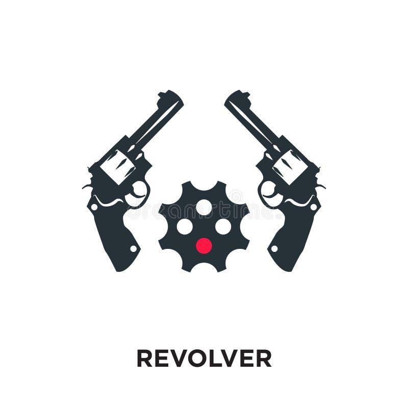 在您的网的白色背景隔绝的左轮手枪商标,机动性 库存例证