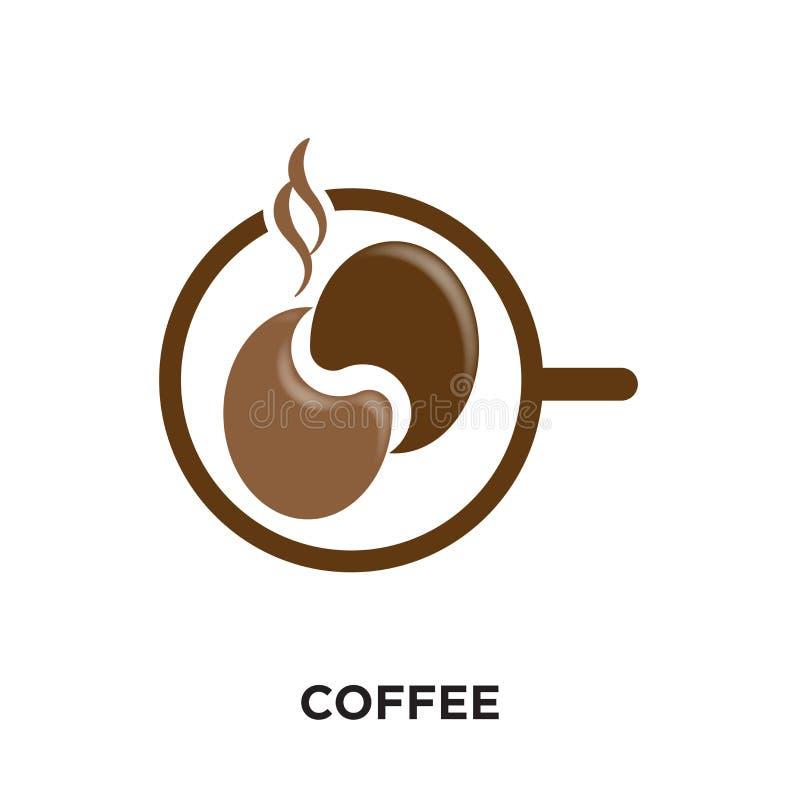 在您的网的白色背景隔绝的coffe商标,流动和 向量例证