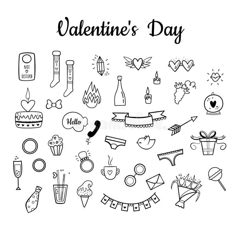 在情人节设置的传染媒介 手拉的样式 甜,花、饮料、诗歌选、内衣、圆环、葡萄、玻璃、鸟等等 向量例证