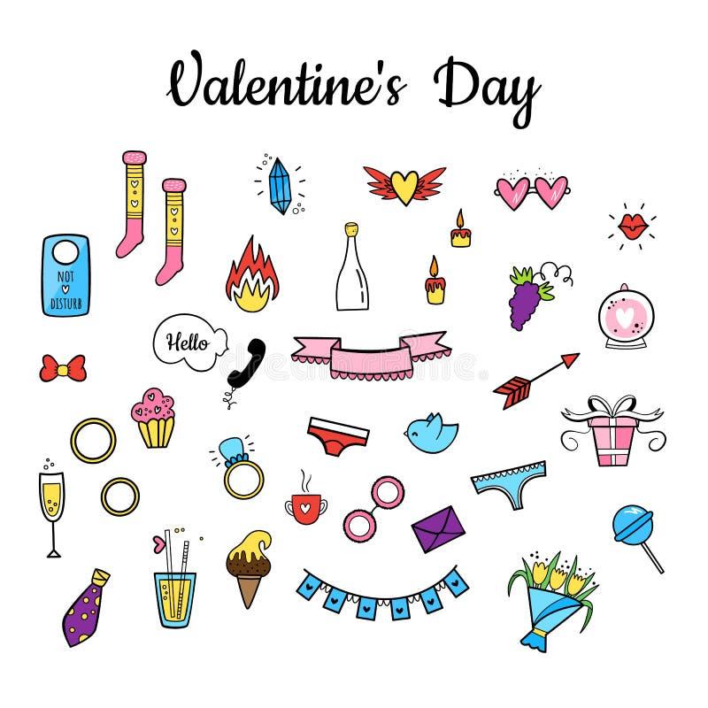 在情人节设置的传染媒介 手拉的样式 甜,花、饮料、诗歌选、内衣、圆环、葡萄、玻璃、鸟等等 库存例证