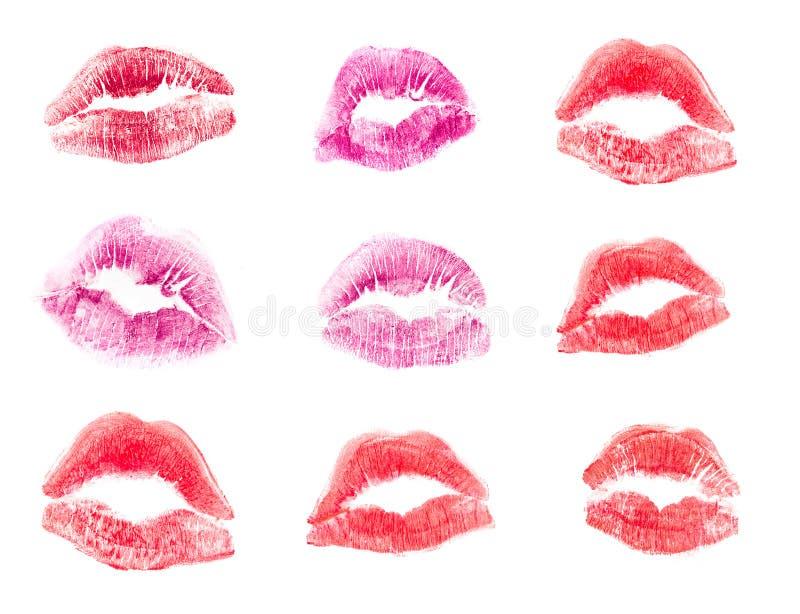 在情人节设置的女性嘴唇唇膏亲吻印刷品和在白色背景隔绝的爱例证 免版税库存图片