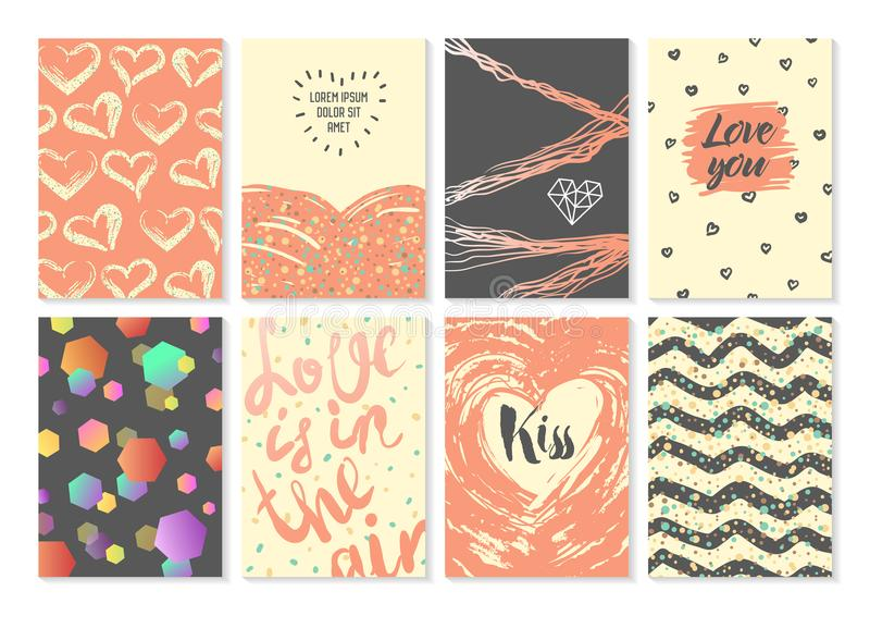 在情人节设置的抽象贺卡 浪漫邀请海报设计 时髦行家印刷品 爱汇集 库存例证