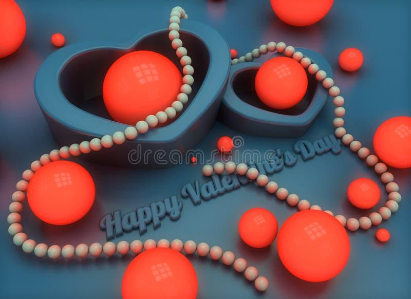 在情人节题材的一个祝贺的例证  3d回报与反射的发光的珍珠小珠心脏 皇族释放例证