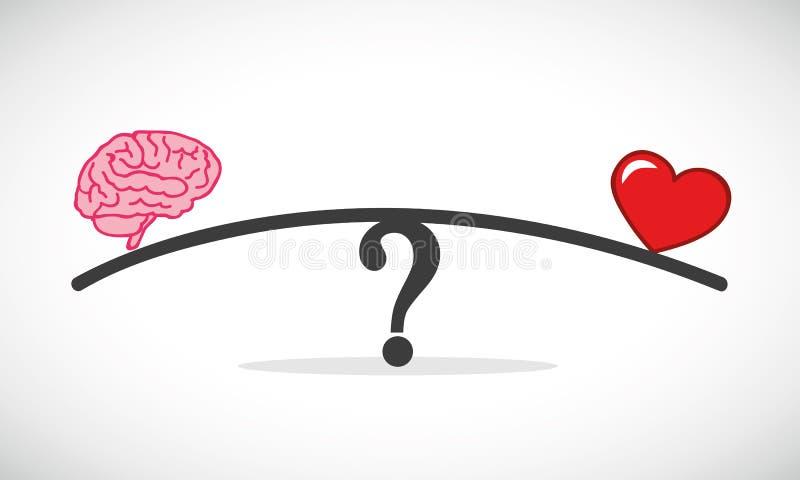 在情感和合理的想法的天秤座之间的心脏和脑子概念冲突 库存例证