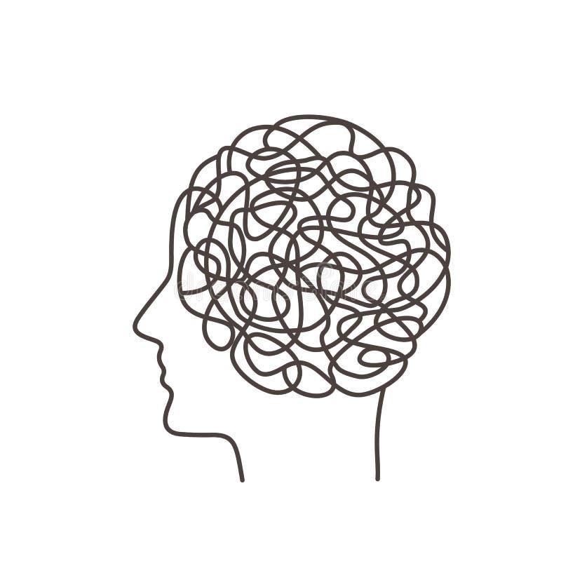 在想法的混乱确定人类行为 心理学的概念 在一个人的档案的背景的人脑a的 皇族释放例证
