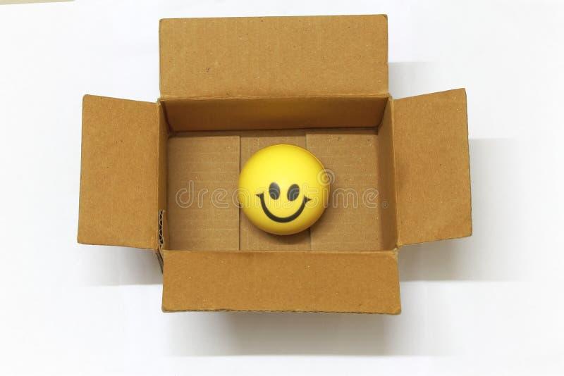 在愉快的网上购物的一个包装的箱子概念的面带笑容 免版税图库摄影