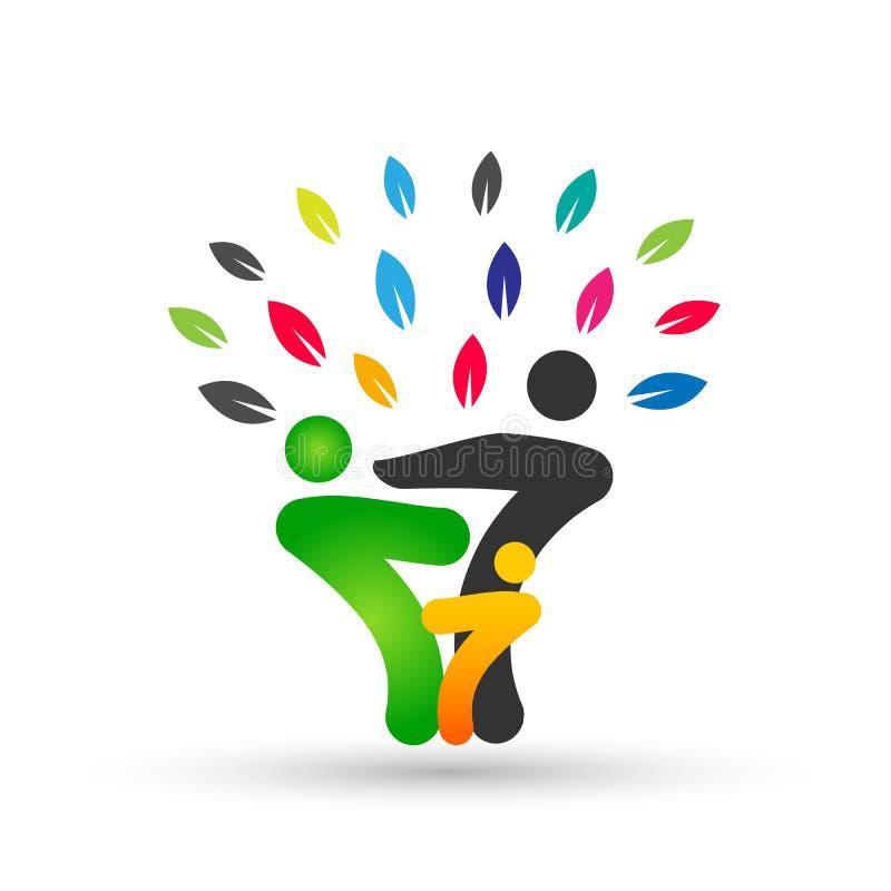 在愉快的联合商标的家谱,家庭,父母,孩子,绿色爱,育儿,关心,标志象在白色背景的设计传染媒介 向量例证