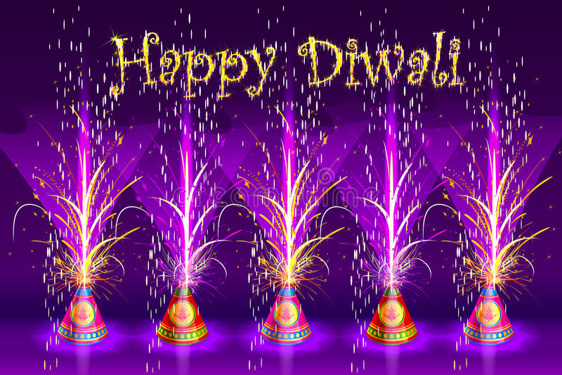 在愉快的Diwali的灼烧的爆竹 库存例证