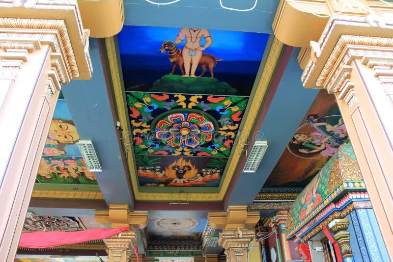 在意味深长的绘画的精心制作的细节, Sri西瓦Subramaniya寺庙,斐济, 2015年 免版税库存照片