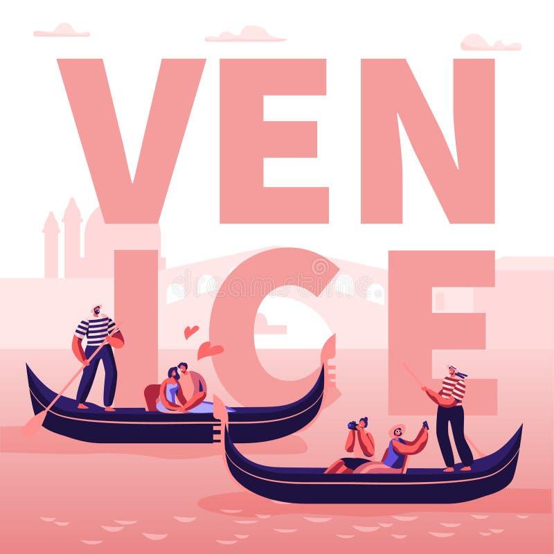 在意大利威尼斯概念的浪漫游览 在长平底船的愉快的爱恋的夫妇有漂浮沿运河的平底船的船夫的,拥抱 向量例证