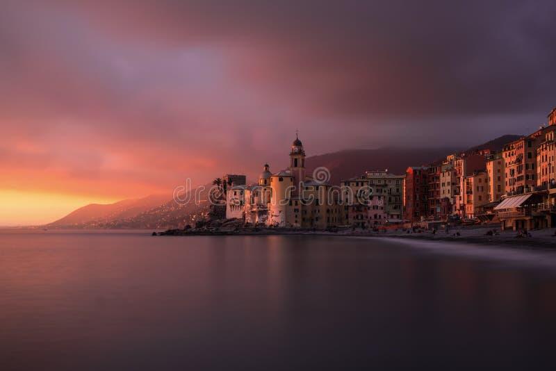 在意大利热那亚附近的卡莫利长期曝光 免版税库存照片