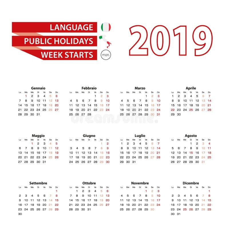 在意大利语日历2019年与公休日计数 皇族释放例证